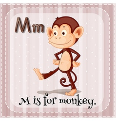Flashcard m is for monkey vector
