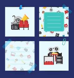flat cinema icons notes cinema concept vector image
