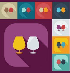 Flat modern design with shadow icons wineglass vector