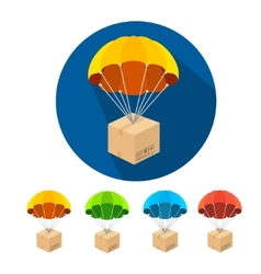 Flat parachutes icons set vector