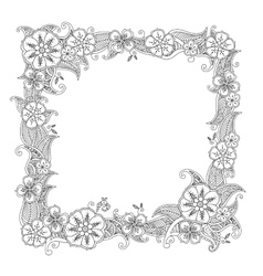 Floral hand drawn square frame in zentangle style vector