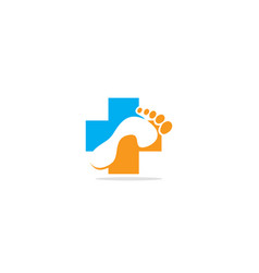 foot health medic cross logo vector image