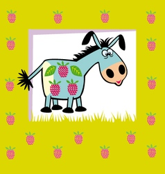 Fruit donkey on green vector