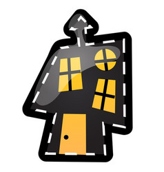 Funny house with glowing windows with contours in vector