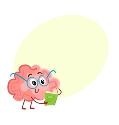 Funny smiling brain in round glasses reading a vector image