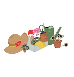 garden tools and flowers in pots vector image