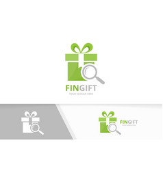 gift and loupe logo combination present vector image