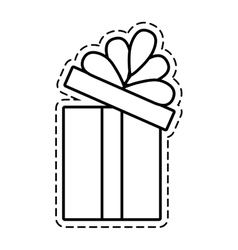 Gift box ribbon package decor open cut line vector