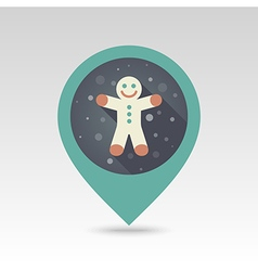 Gingerbread man Christmas flat pin map icon vector image