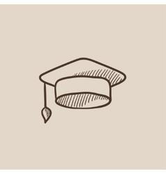 Graduation cap sketch icon vector image