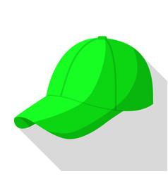Green baseball cap icon flat style vector