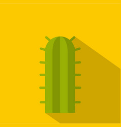 Green cactus plant icon flat style vector