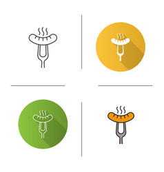 grilled sausage on fork icon vector image
