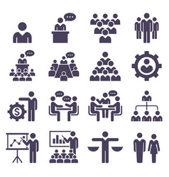 Group of business people icons set vector