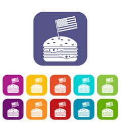 Hamburger icons set flat vector