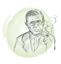 hand drawn portrait jean-paul sartre sketch vector image