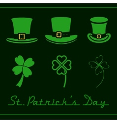 Hats and clovers set vector image