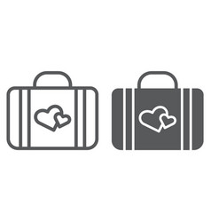 honeymoon line and glyph icon briefcase and love vector image