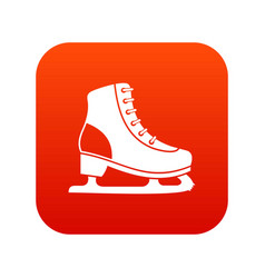 ice skate icon digital red vector image