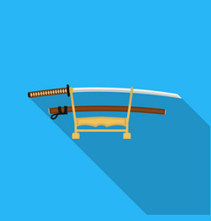 katana icon in flat style isolated on white vector image