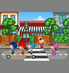 kids playing at urban town vector image