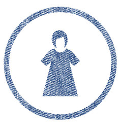 Lady figure rounded fabric textured icon vector