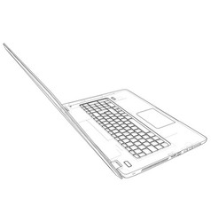 laptop sketch created of 3d wire-frame vector image