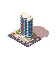Large big office building with parking with cars vector