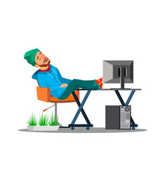 lazy employees office worker sleeping in the vector image