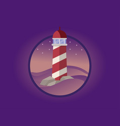 Lighthouse in the night vector
