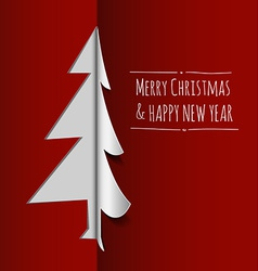 Merry Christmas card made from paper vector image