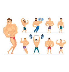 muscular man gym characters sport people making vector image