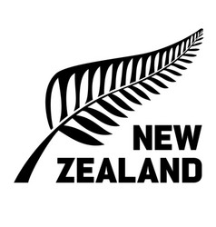 New zealand text with silver fern logo icon vector