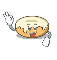 Okay donut with sugar character cartoon vector