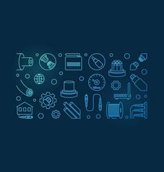 optical fiber blue horizontal banner in vector image