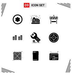 Pack 9 creative solid glyphs installation vector