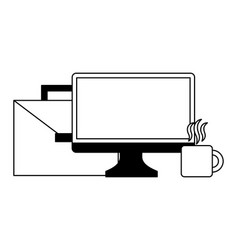portfolio briefcase with monitor computer and cup vector image