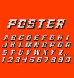Poster 3d font numbers and letters retro style vector