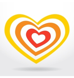 Red orange heart on white background Valentines vector