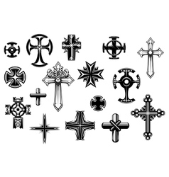 Religious crosses set vector