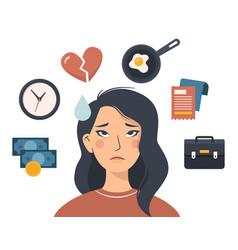 sad asian woman tired and irritating factors vector image