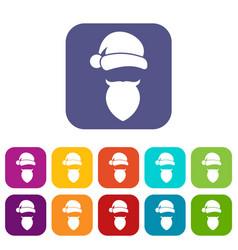 Santa claus hat and beard icons set vector