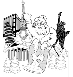 Santa Claus with map vector image