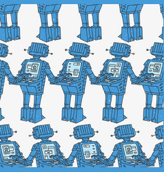 seamless pattern robots and personal computer vector image