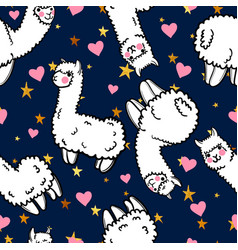 Seamless pattern with cute alpacas and vector