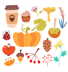 set autumn harvest and sweet food vector image