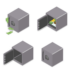 set isometric safe boxes isolated on white vector image