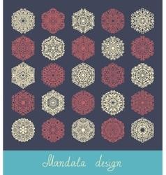 Set of 25 mandala design circle ornament vector