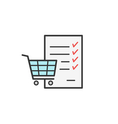 shopping cart checklist thin line colored vector image