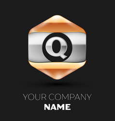 Silver letter q logo in silver-golden hexagonal vector